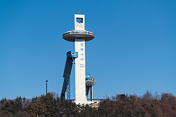 08-02-2018 KOR: Olympic Games day -1, Pyeongchang<br /> Jump-building tower of Alpensia Jumping Park during a preliminary report at the Main Press Centre in Pyeongchang, South Korea on 2018/02/03. <br /> <br /> *** USE NETHERLANDS ONLY ***