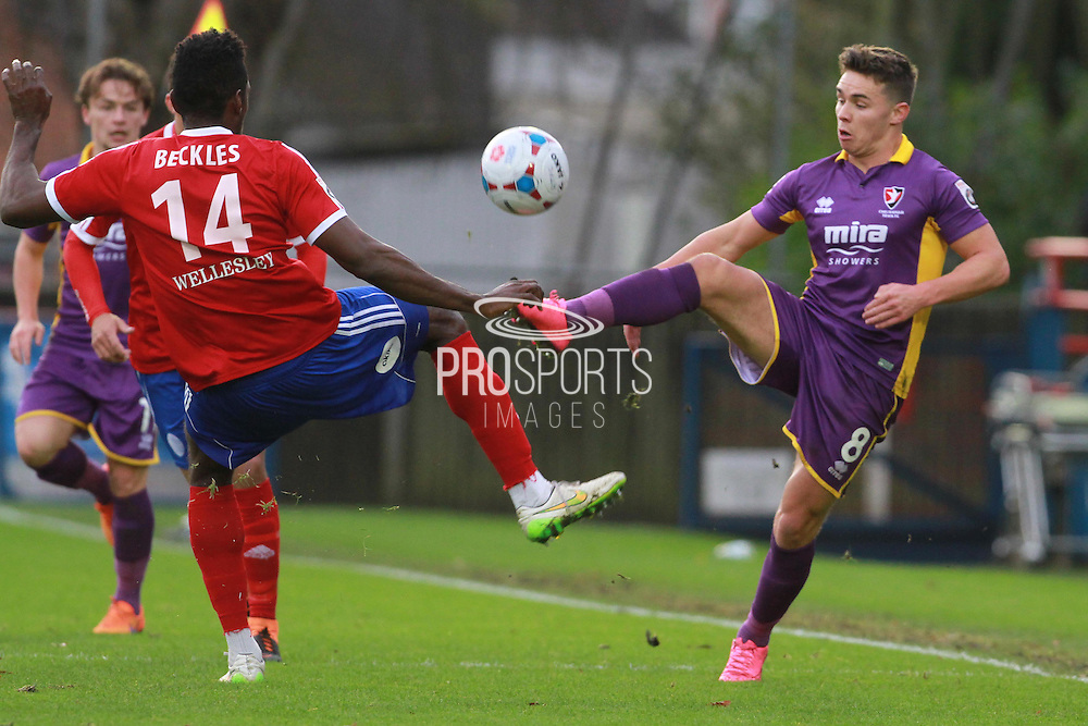 Omar Beckles and Billy Waters during the Vanarama National League match between Aldershot Town and Cheltenham Town at the EBB Stadium, Aldershot, England on 28 November 2015. Photo by Antony Thompson.