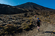The hill climb with Mt Ngauruhoe in background. Tongariro Alpine Crossing.