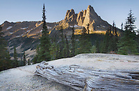 Liberty Bell Mountain at sunrise from Washington Pass, North Cascades Washington
