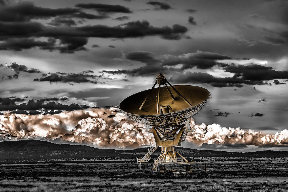 Having Some Fun With The New Mexico Radio Astronomy, Radio Telescope, USA, Black and White With A Split Gold Tone