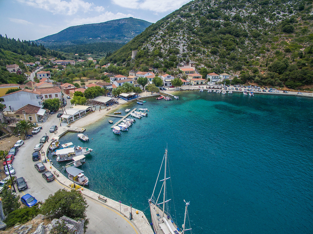 Aerial image of Frikes port village in Ithaca island, Greece