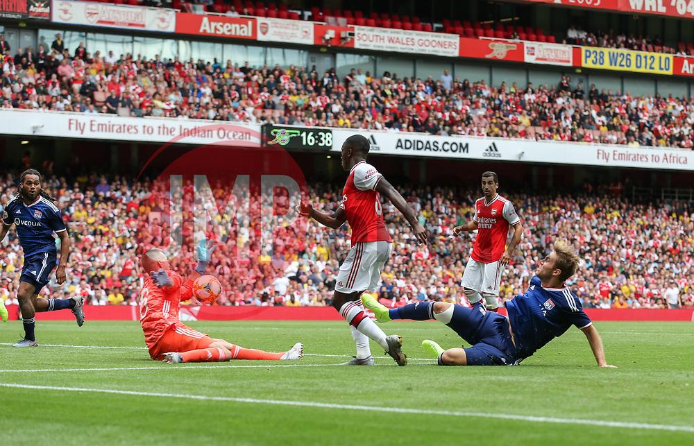 Edward Nketiah of Arsenal sees his shot saved by Anthony Racioppi of Lyon - Mandatory by-line: Arron Gent/JMP - 28/07/2019 - FOOTBALL - Emirates Stadium - London, England - Arsenal v Olympique Lyonnais - Emirates Cup