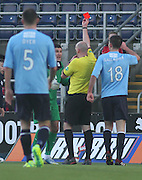 Referee Bobby Madden sends off Dundee keeper Kyle Letheren - Falkirk v Dundee, SPFL Championship at <br /> Falkirk Stadium<br />  - &copy; David Young - www.davidyoungphoto.co.uk - email: davidyoungphoto@gmail.com