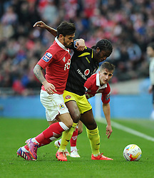 Bristol City's Marlon Pack battles for the ball with Walsall's Romaine Sawyers  - Photo mandatory by-line: Joe Meredith/JMP - Mobile: 07966 386802 - 22/03/2015 - SPORT - Football - London - Wembley Stadium - Bristol City v Walsall - Johnstone Paint Trophy Final