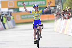 October 20, 2018 - Boom, France - VAN DE STEENE Kim (BEL) of TARTELETTO - ISOREX celebrates winning the 2nd leg of the women elite and U23 Telenet Superprestige cyclocross race (Credit Image: © Panoramic via ZUMA Press)