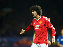 MANCHESTER, ENGLAND - Tuesday, August 18, 2015: Manchester United's Marouane Fellaini in action against Club Brugge during the UEFA Champions League Play-Off Round 1st Leg match at Old Trafford. (Pic by David Rawcliffe/Propaganda)