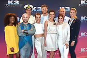 Setbezoek bij de nieuwe K3-film: K3 Love Cruise, op  de SS Rotterdam in Rotterdam.<br /> <br /> op de foto:  K3 -  Klaasje Meijer, Hanne Verbruggen en Marthe De Pillecyn met icolette van Dam, Tim Douwsma en Winston Post , Sven De Ridder en Jacques Vermeire