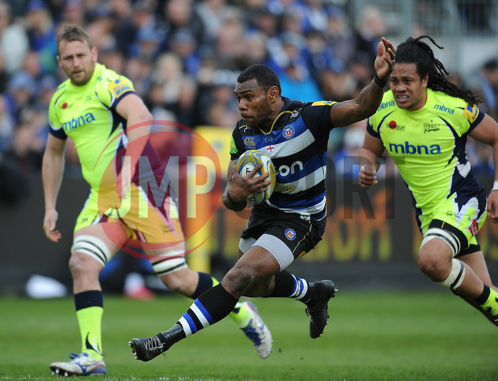 Semesa Rokoduguni of Bath Rugby on the run.  - Mandatory by-line: Alex Davidson/JMP - 23/04/2016 - RUGBY - Recreation Ground - Bath, England - Bath Rugby v Sale Sharks - Aviva Premiership