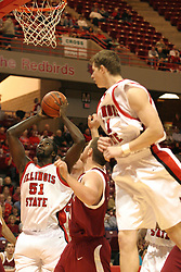 19 November 2005: Ronnie Carlwell get a good look from underneath the hoop. In a non-conference race that came down to a photo finish, the Illinois State Redbirds slipped past the Indianapolis University Greyhounds 54-50 at Redbird Arena in Normal Illinois