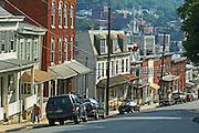 Hill Street Scene, House Architecture, Pottsville, Schuylkill Co., PA
