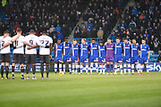 Players pay their respects following the attacks in Paris the previous evening before the Sky Bet League 1 match between Gillingham and Bury at the MEMS Priestfield Stadium, Gillingham, England on 14 November 2015. Photo by David Charbit.