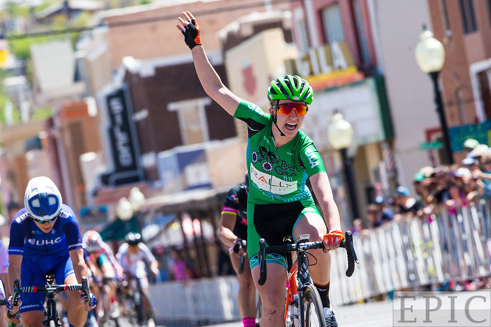 SILVERY CITY, NM - APRIL 21: Emma White (Rally Cycling) takes the win on stage 4 of the Tour of The Gila on April 21, 2018 in Silver City, New Mexico. (Photo by Jonathan Devich/Epicimages.us)