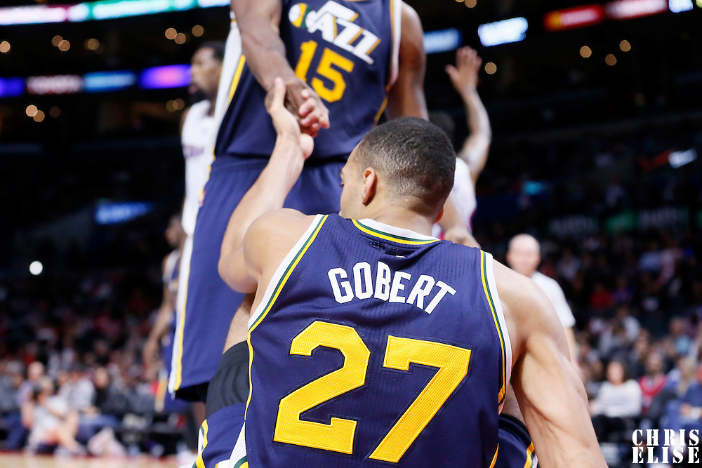 17 October 2014: Utah Jazz center Rudy Gobert (27) is seen during the Los Angeles Clippers 101-97 victory over the Utah Jazz, in a preseason game, at the Staples Center, Los Angeles, California, USA.