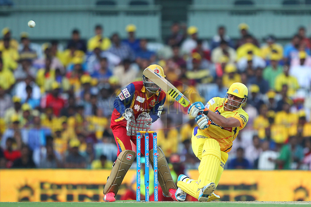 Suresh Raina of the Chennai Superkings  slips as he plays the shot during match 37 of the Pepsi IPL 2015 (Indian Premier League) between The Chennai Superkings and The Royal Challengers Bangalore held at the M. A. Chidambaram Stadium, Chennai Stadium in Chennai, India on the 4th May April 2015.<br /> <br /> Photo by:  Ron Gaunt / SPORTZPICS / IPL