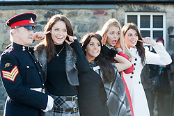 Miss Scotland Jennifer Reochs with Gunner Jamie Shannon. With Miss Wales Sara Jessica Manchipp, Miss England Alize Lily Mounter and Miss Northern Ireland Finola Frances Guinnane..The Miss World participants visit Edinburgh Castle and will witness the firing of the One O'clock gun..MISS WORLD 2011 VISITS SCOTLAND..Pic © Michael Schofield.