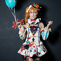 A cosplay participant dresses as Kosaka Honoka of 'LoveLive!' at the 19th Ani-Com and Games Fair 2017 at the Hong Kong Convention and Exhibition Centre on 28 July 2017. The annual fair showcases animation, comics, online games, electronic games and edition collectibles, and runs from 28 July to 1 August 2017 in Hong Kong, China. Photo by Yu Chun Christopher Wong / studioEAST
