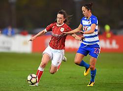 Chloe Arthur of Bristol City Women competes with Josanne Potter of Reading Women - Mandatory by-line: Paul Knight/JMP - 28/10/2017 - FOOTBALL - Stoke Gifford Stadium - Bristol, England - Bristol City Women v Reading Women - FA Women's Super League
