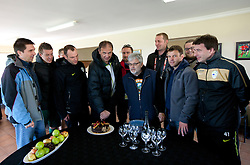 Denis Sabadin, Matjaz Krajnik, Miha Kosorog, Ivan Simic, Rok Plestenjak, Branko Vekic, Rok Tamse, Sandi Skvarc, Luka Petric and Ales Zavrl with a cake after the friendly match between Slovenian football journalists and officials of Slovenian football federation at  Hyde Park High School Stadium on June 16, 2010 in Johannesburg, South Africa.  (Photo by Vid Ponikvar / Sportida)