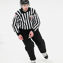 GEORGETOWN, - Mar 19, 2016 -  Ontario Junior Hockey League game action between Georgetown Raiders and North York Rangers. Game 2 of the semi final playoff series. At the Alder Street Arena, ON. OHA Linesman during the first period.(Photo by Tim Bates / OJHL Images)