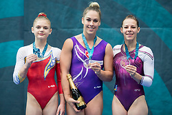 Second placed Denisa Golgota of Romania, Winner Giulia Steingreuber of Switzerland and Third placed Tjasa Kysselef of Slovenia at Vault during Finals of Artistic Gymnastics FIG World Challenge Koper 2018, on June 2, 2018 in Arena Bonifika, Koper, Slovenia. Photo by Urban Urbanc / Sportida