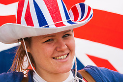 Queen Elizabeth Olympic Park, London, September 10th 2014. Patriotic Liv McCarron queues to get into the opening ceremony for the Invictus Games, where over 400 competitors from 13 nations will take part in an international sporting event for wounded, injured and sick Servicemen and women.