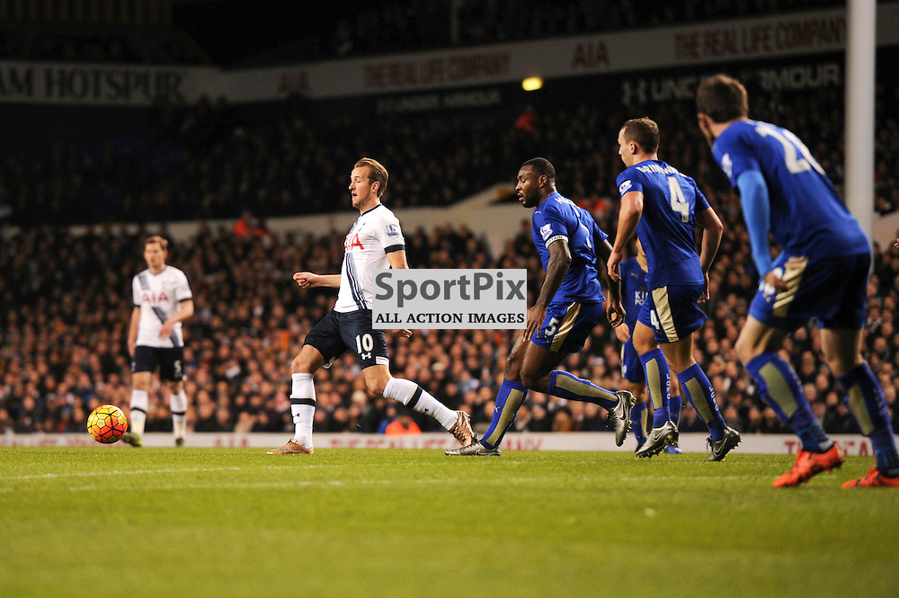 Tottenhams Harry Kane in action during the Tottenham v Leciester City match in the Barclays Premier League on the 13th January 2016.