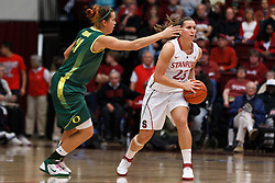 February 26, 2011; Stanford, CA, USA;  Stanford Cardinal guard Jeanette Pohlen (23) is defended by Oregon Ducks forward Amanda Johnson (11) during the first half at Maples Pavilion.  Stanford defeated Oregon 99-60.