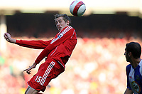 Photo: Paul Thomas.<br /> Liverpool v Blackburn Rovers. The Barclays Premiership. 14/10/2006.<br /> <br /> Peter Crouch of Liverpool wins the ball.
