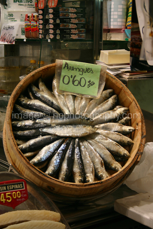 Fresh fish displayed in marketplace, Barcelona, Spain<br />