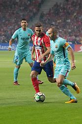 October 14, 2017 - Madrid, Madrid, Spain - Luis Suarez, Saul and Iniesta. (Credit Image: © Jorge Gonzalez/Pacific Press via ZUMA Wire)