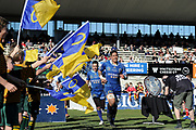 Sione Misiloi runs onto the field of play during the Ranfurly Shield match between Otago and North Otago, held at Whitestone Contracting Stadium, Oamaru, New Zealand, 26 July 2019. Credit: Joe Allison / www.Photosport.nz