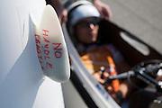 Sebastiaan Bowier is klaar voor de eerste rit van de Velox 2. Het Human Powered Team van de TU Delft en de VU Amsterdam testen op de RDW baan in Lelystad voor het eerst met de fiets, de Velox 2, waarmee ze het record willen verbreken.<br /> <br /> Sebastiaan Bowier is ready for the first meters with the Velox 2. The Human Powered Team is testing at the RDW test track in Lelystad for the first time with the new bike, the Velox 2,  which they want to set the world record with.