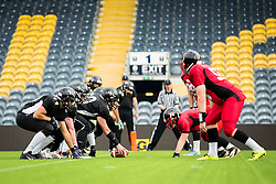 Half time score, Kent Exiles 6, East Kilbride Pirates 8 - Mandatory by-line: Jason Brown/JMP - 27/08/2016 - AMERICAN FOOTBALL - Sixways Stadium - Worcester, England - Kent Exiles v East Kilbride Pirates - BAFA Britbowl Finals Day