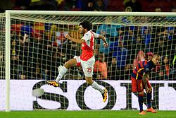 Arsenal's Mohamed Elneny celebrates after scoring his sides first goal  - Mandatory byline: Matt McNulty/JMP - 16/03/2016 - FOOTBALL - Nou Camp - Barcelona,  - FC Barcelona v Arsenal - Champions League - Round of 16