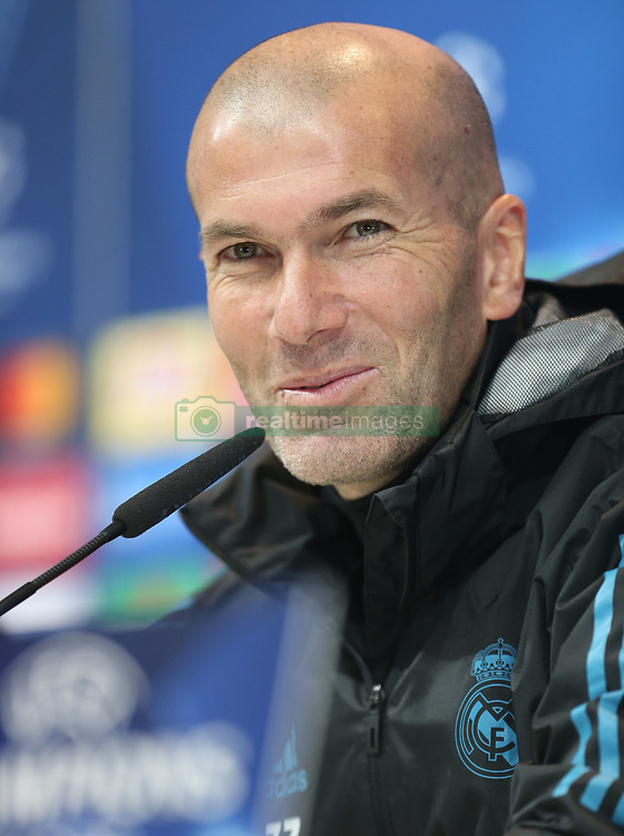December 5, 2017 - Madrid, Spain - Head coach Zinedine Zidane of Real Madrid attends a press conference at Valdebebas training ground on December 5, 2017 in Madrid, Spain. (Credit Image: © Raddad Jebarah/NurPhoto via ZUMA Press)