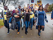 01 NOVEMBER 2019 - DES MOINES, IOWA: US Senator KAMALA HARRIS (D-CA) walks to the Wells Fargo Arena with a drum line before the Liberty and Justice Celebration. The Liberty and Justice Celebration is a fund raiser for the Iowa Democratic Party. Many of the Democratic candidates for the US presidency spoke at the 2019 Celebration. Iowa holds the first presidential selection event of the 2020 election cycle. The Iowa Caucuses are Feb. 3, 2020.           PHOTO BY JACK KURTZ