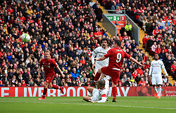 Liverpool's Robbie Fowler scores his side's first goal of the game during the Legends match at Anfield Stadium, Liverpool.