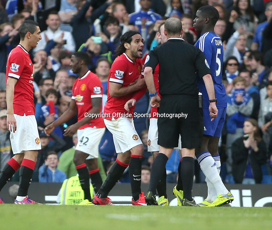 18 April 2015 - Barclays Premier League - Chelsea v Manchester United - Radamel Falcao of United pleads with referee Mike Dean after Ander Herrera is booked for a dive.<br /> <br /> <br /> Photo: Ryan Smyth/Offside