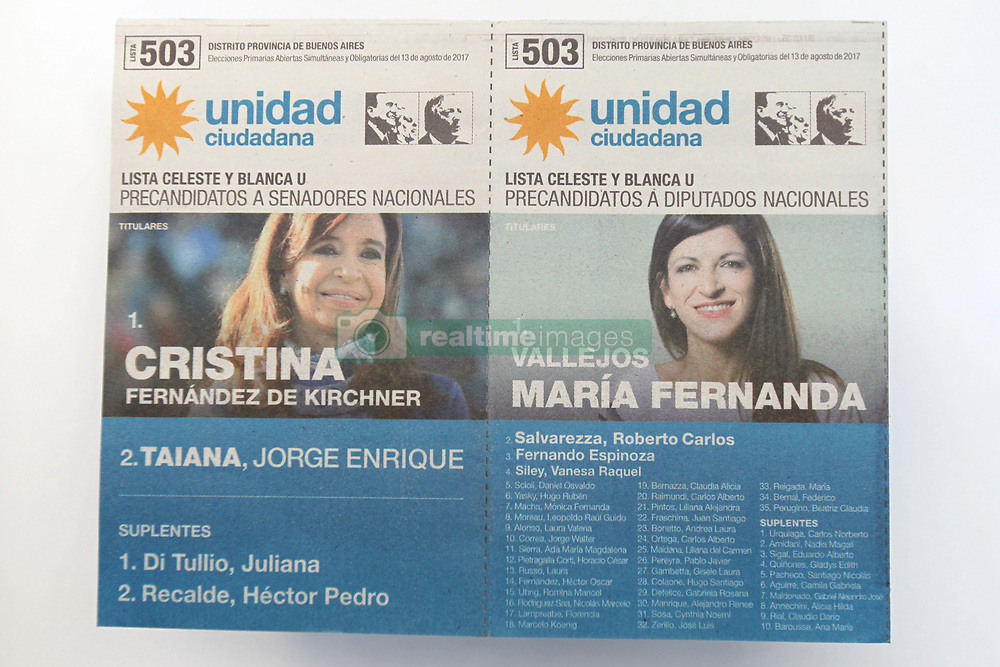 August 9, 2017 - Buenos Aires, Buenos Aires, Argentina - Primary elections in Argentina are called PASO (which stands for Primarias Abiertas Simultáneas y Obligatorias, (Spanish: Simultaneous and Mandatory Open Primaries). With this system, all parties run primary elections in a same general elections. All parties must take part in it, both the parties with internal factions and parties with a single candidate list. The elections will take place on august 13. In October, voters head to the polls for midterm elections, where a third of the Senate and around half the seats in the lower house of congress are in play. (Credit Image: © Claudio Santisteban via ZUMA Wire)