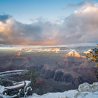 Sunlight, snow and trees at Yavapai Point, Grand Canyon National Park, AZ