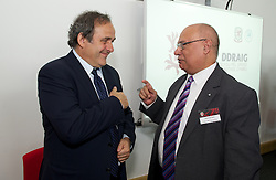 NEWPORT, WALES - Saturday, April 20, 2013: UEFA President Michel Platini and AM Mohammad Asghar at the opening of the FAW National Development Centre in Newport. (Pic by David Rawcliffe/Propaganda)
