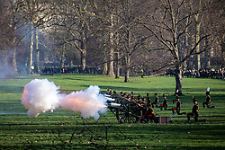 © Licensed to London News Pictures. 06/02/2020. London, UK. The King's Troop Royal Horse Artillery fire a 41 Gun Salute in Green Park to mark the 68th anniversary of Her Majesty The Queen's accession to the throne. Photo credit: Rob Pinney/LNP