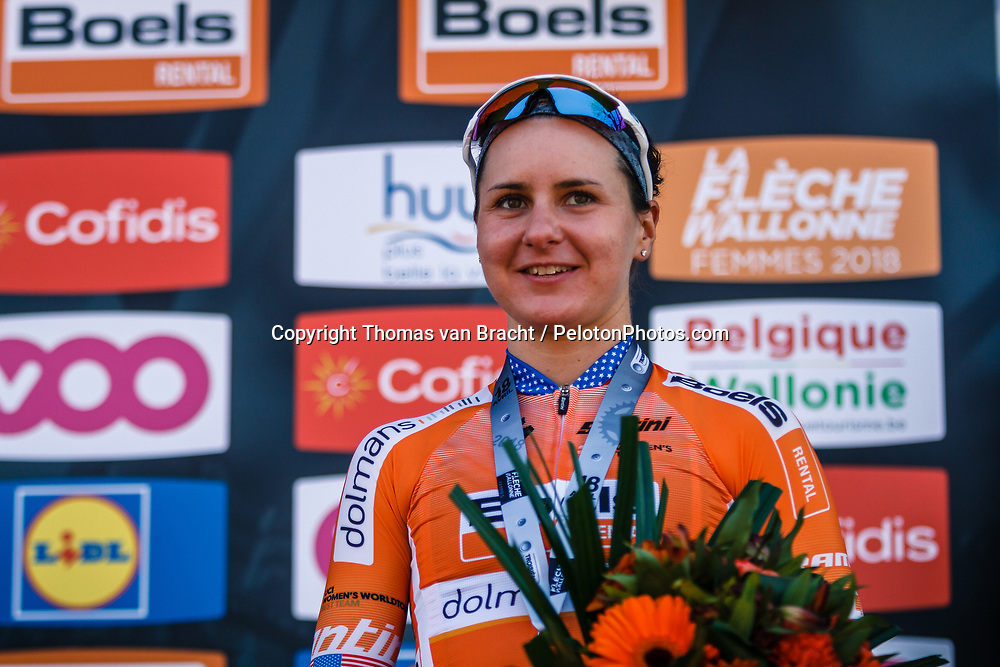 Podium with 3rd GUARNIER Megan of Boels - Dolmans Cycling Team after the 2018 La Flèche Wallonne Fèminine race, Huy, Belgium, 18 April 2018, Photo by Thomas van Bracht / PelotonPhotos.com | All photos usage must carry mandatory copyright credit (Peloton Photos | Thomas van Bracht)