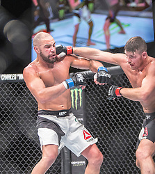 Michael Bisping of England takes on Thales Leites of Brazil in their middleweight fight during the UFC Fight Night event, at the UFC Glasgow on Saturday, July 18 at The SSE Hydro, Glasgow. The UFC Fight Night 72 event was the first the promotion had been hosted in Scotland.
