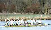 Henley, GREAT BRITAIN,  [light  Blue] Cambridge celebrate after winniing the Lightweight men's Boat race by 2 feet, on Henley Reach, 2010 Henley Boat Races, Henley on Thames, England  Sunday  28/03/2010  28.03.2010. [Mandatory Credit, Peter Spurrier/Intersport-images