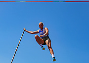 Holly BRADSHAW competes in the Women's Pole Vault Final which she went on to win with a championship record of 4.73m during the Muller British Athletics Championships at Alexander Stadium, Birmingham, United Kingdom on 25 August 2019.