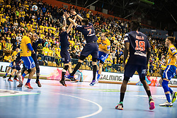 William Accambra vs Luka Stepancic during handball match between RK Celje Pivovarna Lasko (SLO) and Paris Saint-Germain HB (FRA) in VELUX EHF Champions League 2018/19, on February 24, 2019 in Arena Zlatorog, Celje, Slovenia. Photo by Peter Podobnik / Sportida