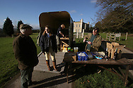 Host Emma Holloway greeting supporters as she prepares to ride out for a day's foxhunting from her 17th century home, Pen Y Lan House, which has been in her family's hands for over 160 years. The Wynnstay Hunt, named after Sir Watkin Williams-Wynn, dated back to the 18th century and hunted on country estates in Shropshire, Cheshire and north Wales. Hunting with dogs in England and Wales became illegal on 18th February 2005 despite legal challenges to the ban and many hunts vowed to continue the ancient sport of foxhunting, risking prosecution.