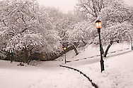 Riverside Park, 79th Street, Snow, designed by Frederick Law Olmsted, Manhattan, New York City, New York, USA